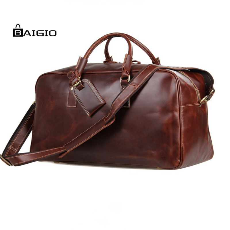 Baigio Men's Leather Bag Overnight Travel Tote Duffle Shoulder Bag Large Capacity Carry On Hand Luggage Bags Travel Bags(China (Mainland))