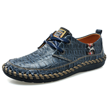 Crocodile Shoes Men Summer Shoes Casual Men Flats Summer Men Shoes Leather Breathable Horse Brand Luxury