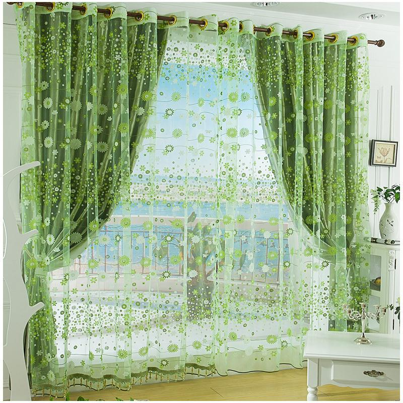 Flower Design Fininshed Organza Green Tulle Fabric Sheer Modern Curtain Living Room / Door Chinese Curtains Wedding Decoration(China (Mainland))