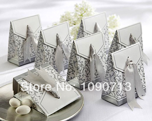 Free Shipping 100X Silver Tone Ribbon Candy Box Candy Bag Wedding Favor Gift Boxes Wedding Accessories
