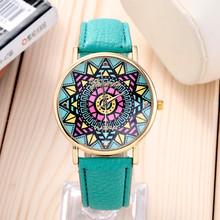 2016 Fashion Clock Geneva Dress Watch Women Sunflower Style Leather Strap Relogio Feminino Fantastic Gift Reloj Graffiti Watch