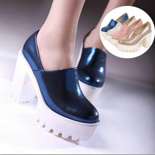 2015 Vintage fashion punk chunky spring high heel shoes high platform pumps for women free shipping