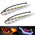 Sequential Flow Style Car Flexible White Amber Switchback LED DRL Daytime Running Light with Turn Signal