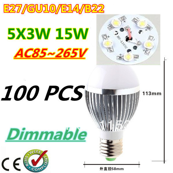 100pcs/lot Retail Dimmable Bubble Ball Bulb AC85-265V 15W E14 E27 B22 GU10 High power Globe light LED Light Free DHL and FEDEX