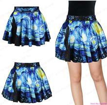 New Van Gogh Starry Night Blue Skirts Women Pleated Mini Skirt Vintage Pettiskirt Tennis Skirts Clothing
