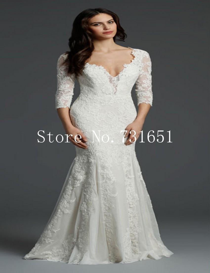 Stunning unique lace mermaid bridal wedding dresses for Unique wedding dresses with sleeves