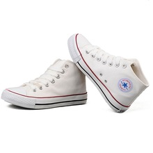 2016 spring canvas shoes plus size 43 women&men high top ankle casual shoes woman classic star white shoes(China (Mainland))