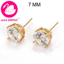 Free Shipping! 24K Real Gold Plated & 4 Prongs 7MM 1.6 CT Round Brilliant Cut Grade AAA Cubic Zircon Diamond Stud Earring (0572)(China (Mainland))