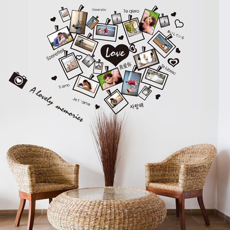 Picture frame wall stickers loving heart photograph mural for Picture frame decorating ideas for kids
