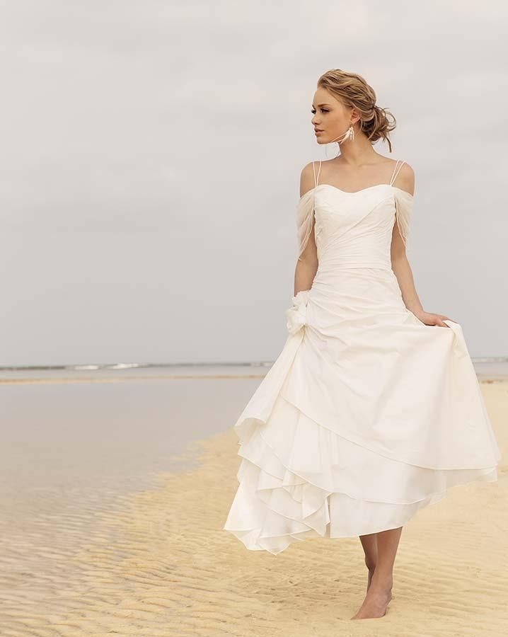 2015 generous white iovry tea length beach wedding dresses for Wedding dresses for the beach 2015