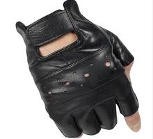Moda semi-dedo luvas de couro Genuíno dos homens masculinos outono e inverno ao ar livre tático luvas de fitness slip-resistente