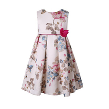 Girls Dress 2016 New Summer Flower Bow Flora Print Dress For Teenager Party Ceremonies Gowns Dresses Kids Clothes Of 4-12(China (Mainland))