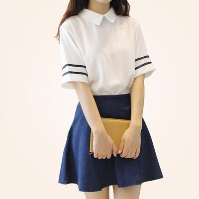 School Uniform British Navy Summer Short-sleeve Sailor Suit for Girls Japanese Student Clothing(China (Mainland))