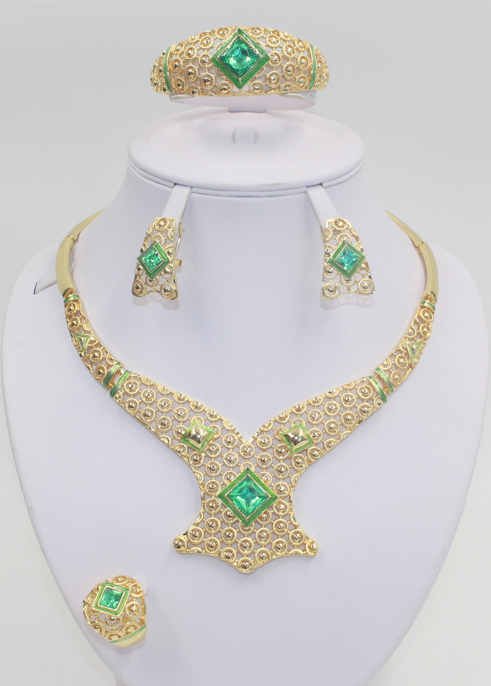 2015 New African beads bridal costume jewelry set fashion women party filled with 18K gold-plated green crystal jewelry sets(China (Mainland))