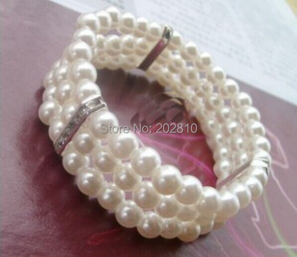 factory wholesale 3r rope chain pearl bracelet,8mm Pearl 3 Storey Bracelet,fine quality low price White pearl Bangle For Wedding(China (Mainland))