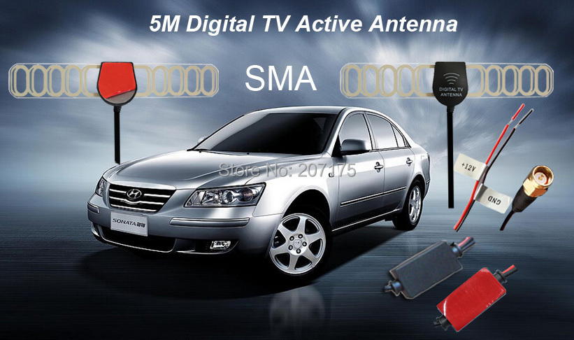 Factory price ! 5M Digital TV Active Antenna Mobile Car DVB-T ISDB-T Aerial with SMA Connector, Amplifier Booster+Free shipping(China (Mainland))