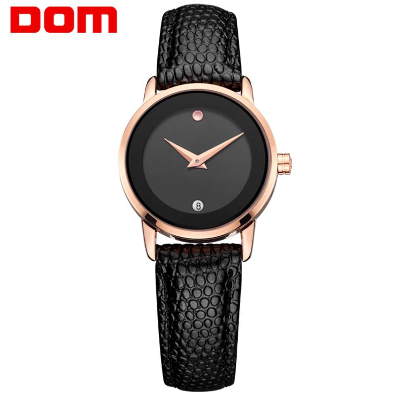 DOM women luxury brand waterproof style quartz leather gold nurse watch relojes mujer reloj(China (Mainland))