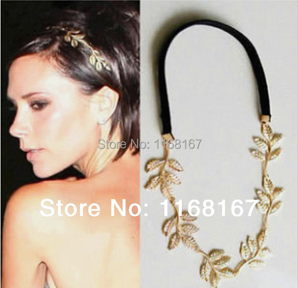 New Fashion Gold Elastic Romantic Olive Branch Leaves Head Bands Hair Accessories(China (Mainland))