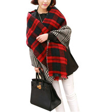 Modern Fashion New Women Tassel Lattice Large Checked Plaid Tartan Winter scarves Wraps Shawl Cappa at826
