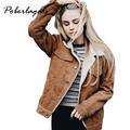 2016 Pink Black vintage lambswool jacket coat Winter warm long sleeve corduroy jacket Women autumn hairly