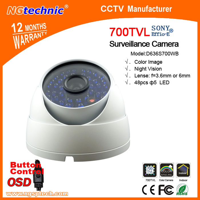"Top quality CCD 700TVL white Camera security system Surveillance day night dual use 48pcs LED IR 1/3"" Sony 700TVL freeshipping(China (Mainland))"
