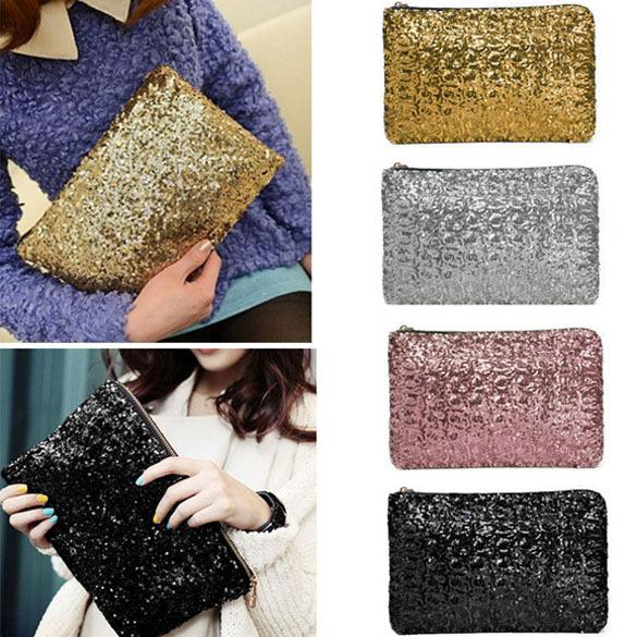 Free Shipping Women Clutch Dazzling Sequins Glitter Sparkling Handbag Evening Bag Fashion hv5n(China (Mainland))