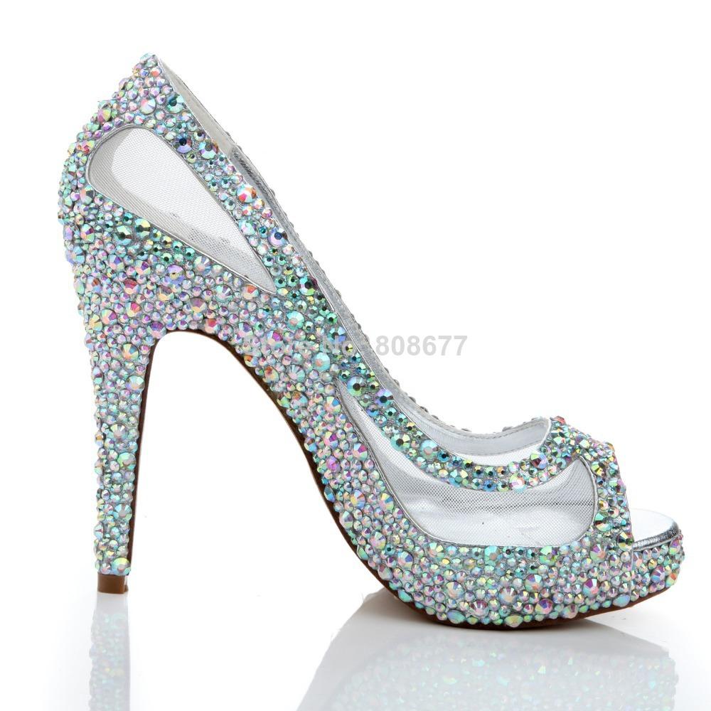 Sexy Discount High Heels Wedding Dress Shoes 2014 Peep Toe Crystal Rhinestone Mesh Pumps In