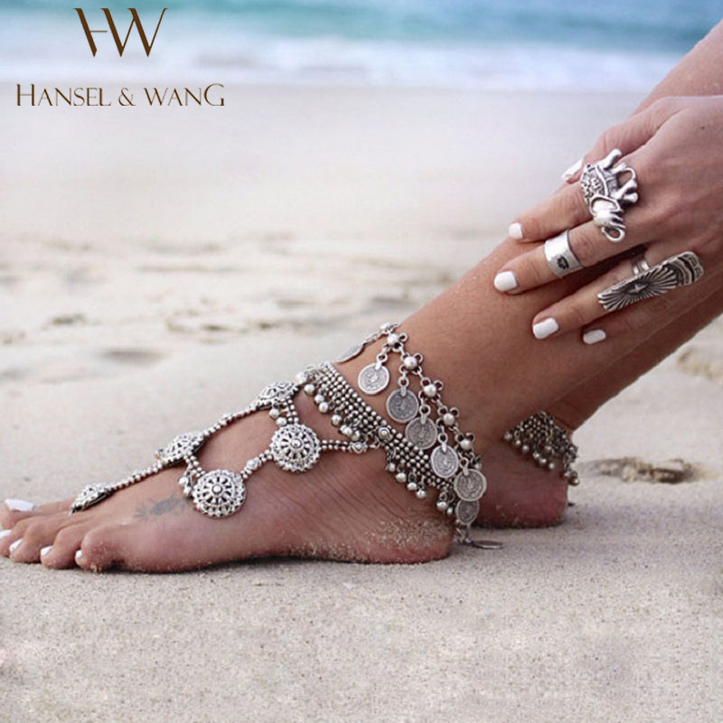 Hansel & Wang Barefoot Sandals Foot Jewelry Antique Anklet Fashion Coin Leg Ankle Bracelet Anklets For Women To Beach JL35