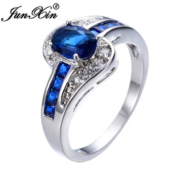 JUNXIN Unique Sapphire Jewelry Blue Oval Zircon Stone Ring White Gold Filled Wedding Engagement Rings For Women Men RW0375