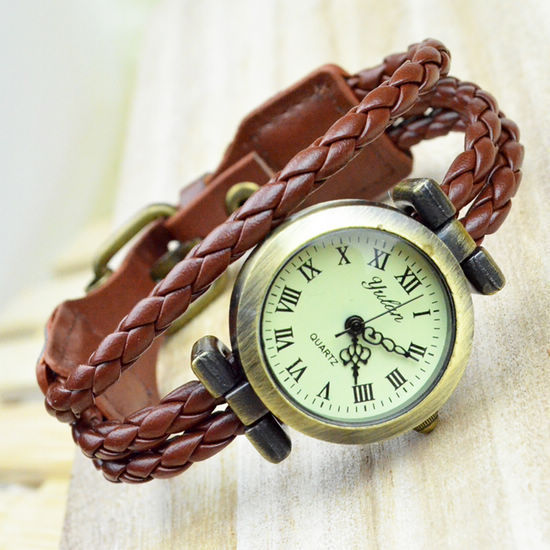 Free Shipping 2015 New Vintage Handmade Woven Multilayer Genuine Leather Quartz Wristwatches Dress Watches for Women Wholesale