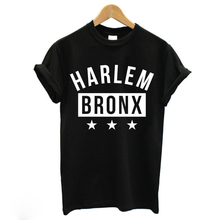 HARLEM BRONX Letter Print T Shirt 2016 MENS Brand SWAG BLACK T-Shirt Cool WOMENS TUMBLR Short Sleeve Tee TShirt Homme F10479