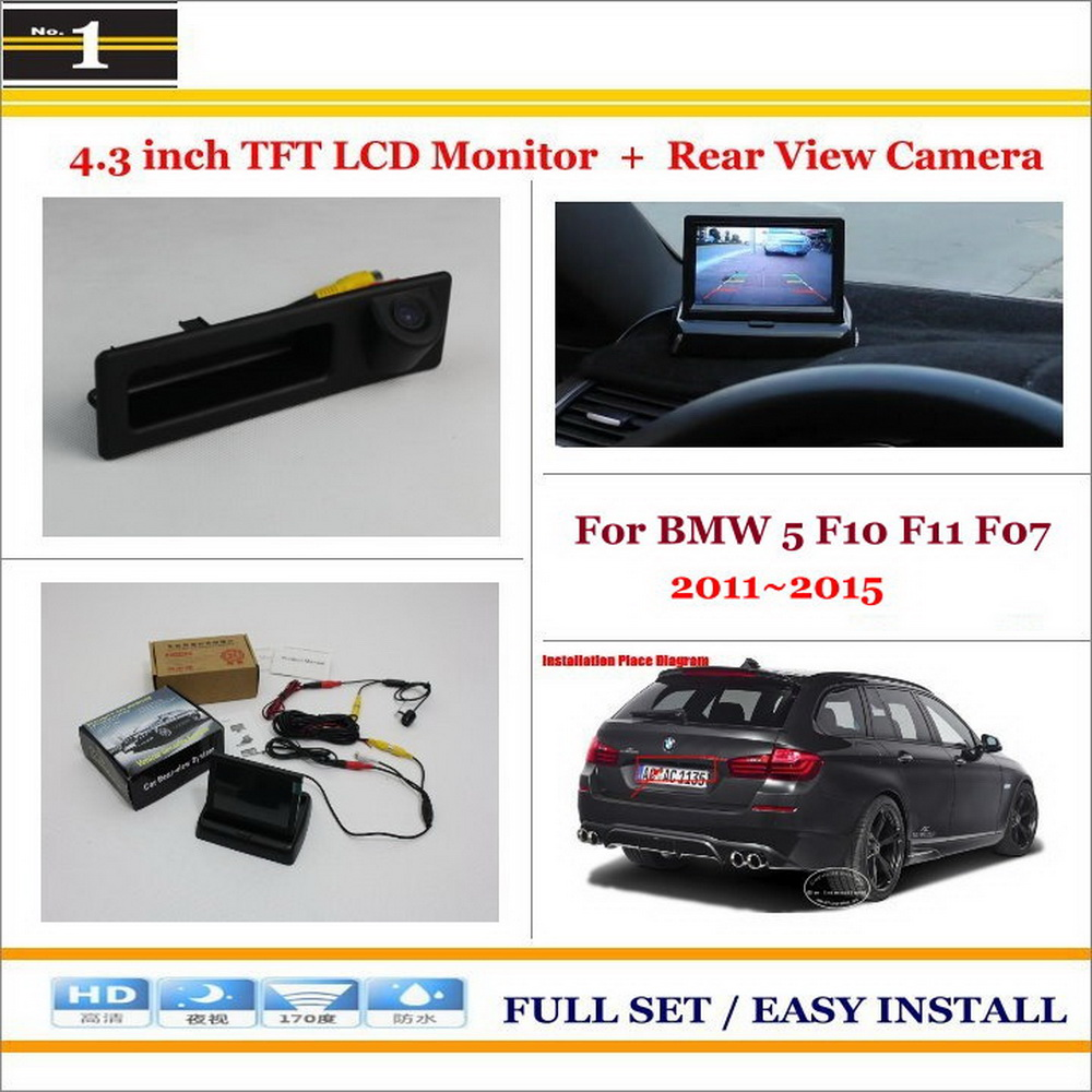 For BMW 5 M5 F10 F11 2009~2013 / Car Rear Camera + 4.3 TFT LCD Screen Monitor = 2 in 1 Back Up Parking System<br>