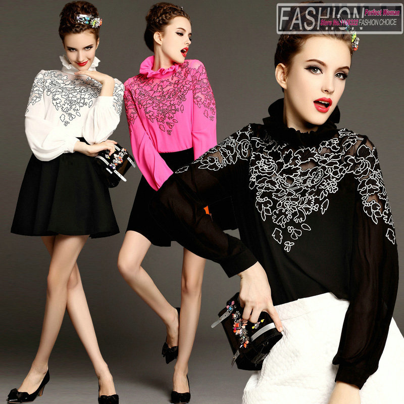 Free shipping Spring 2015 The new high-end temperament embroidery falbala turtle neck long sleeve shirtsОдежда и ак�е��уары<br><br><br>Aliexpress