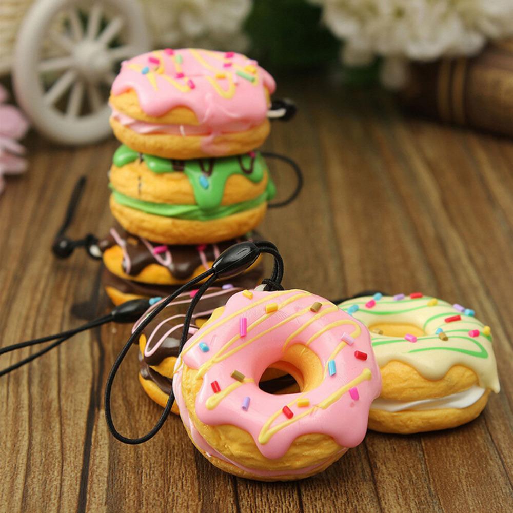 1pcs PU 4.5cm Cream Scented Fruit Donut Squishy Bread Keychain Bag Phone Charm Strap Soft Bag Accessories(China (Mainland))