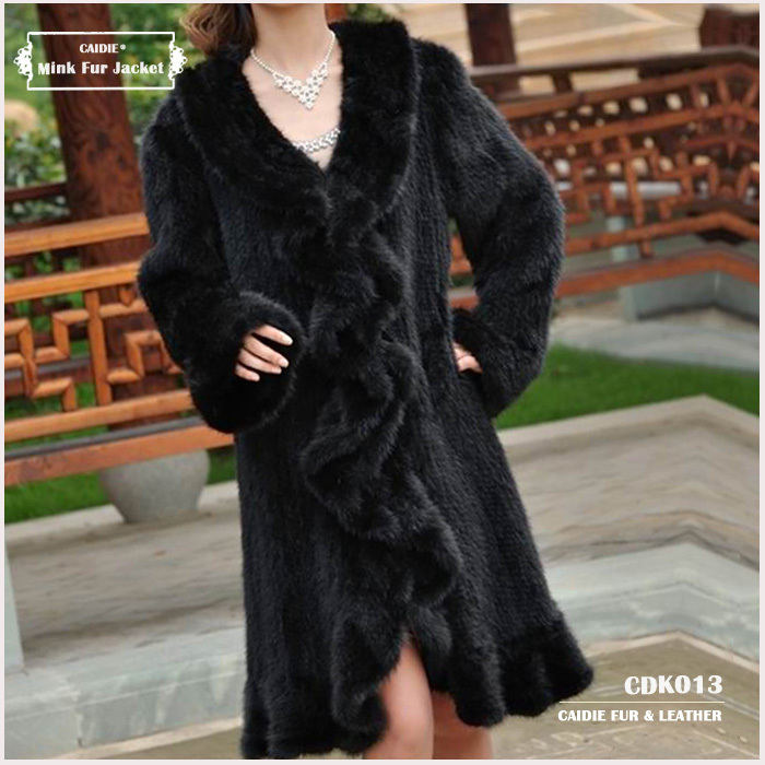 CDK013 2014 New Item Europe style hot-sale Luxury Long Sleeve Women Knitted Genuine Long Mink Fur Extra Large coatОдежда и ак�е��уары<br><br><br>Aliexpress