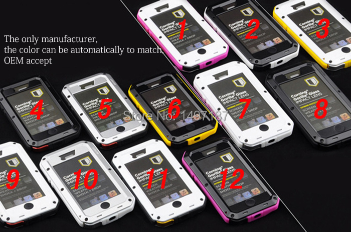 Hot selling Waterproof Metal Case Hard Aluminum Dirt Shock Proof Mobile Cell Phone Cases Cover for i phone 5/5c/5s(China (Mainland))