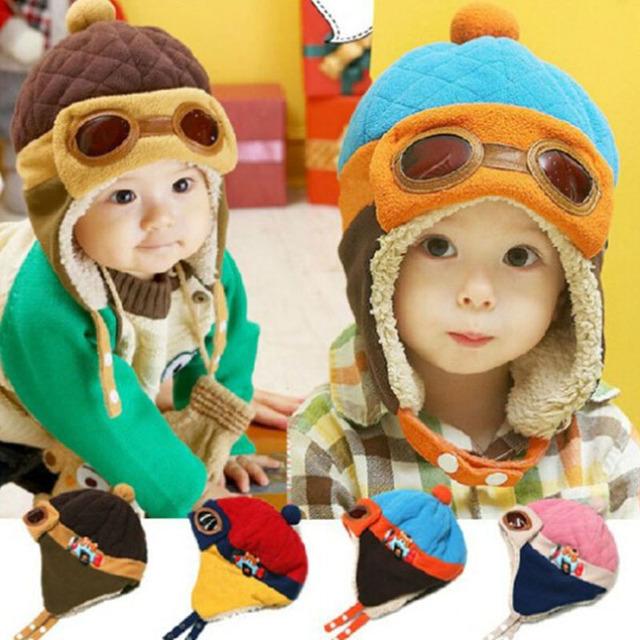 Новый Дети Шапочки Ребенок Ребенка Зимой Пилот Cap gorro Малышей Авиатор Наушник ...