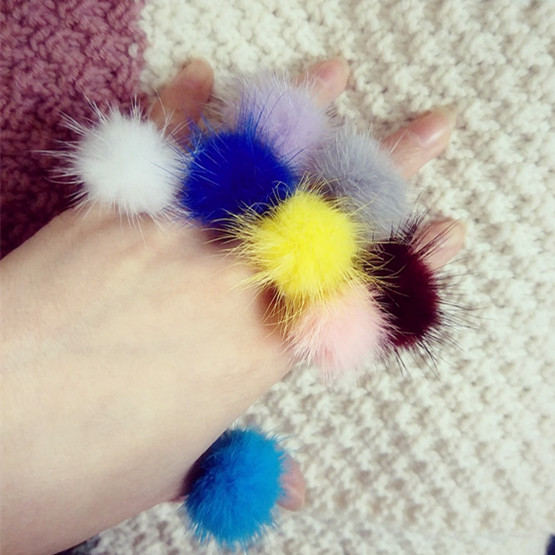 Woman lady cute Fashion Finger Rings mink fur ball Rings Hand rings party pompom Multi-color rings Finger Accessory Anillos