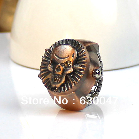 COOL Mens Gothic Steampunk Vintage Skull Cover Pirate Finger Ring Watch Bronze