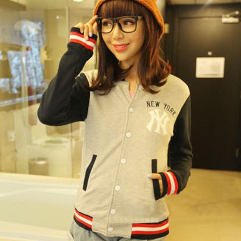 Fashion 2015 sport baseball jacket harajuku abrigos y chaquetas navy splice slim college jackets for women plus size female coat(China (Mainland))