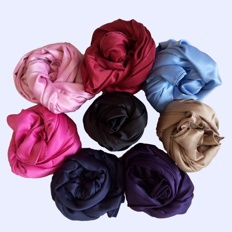 Wholesale &Retail 9 colors newest Solid silk satin shawls/scarf, muslim shawls free shipping(China (Mainland))
