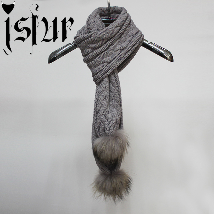 Hotsale 2015 Gifts Women Knitting Infinity Long Scarf Muffler Scarves Real Raccoon Fur Pom Pom Brand Solid Color Men's Scarf(China (Mainland))