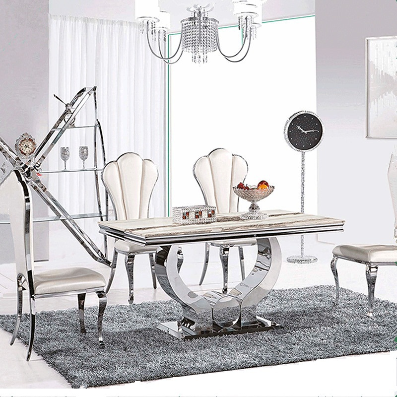Hot sale dining table marble top modern living room furniture stainless steel dining table send from China-fast shipping(China (Mainland))
