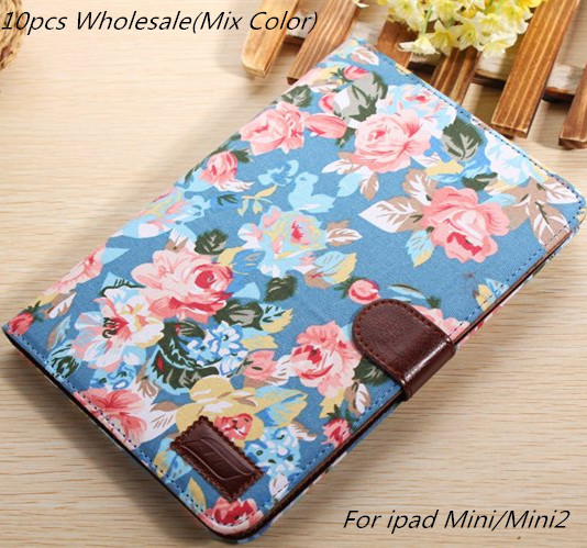 """10pcs wholesale hot Flower pu Leather Case Cover for Apple iPad mini ipad mini2 with Smart Stand Card Holders 7.9"""" freeshipping(China (Mainland))"""