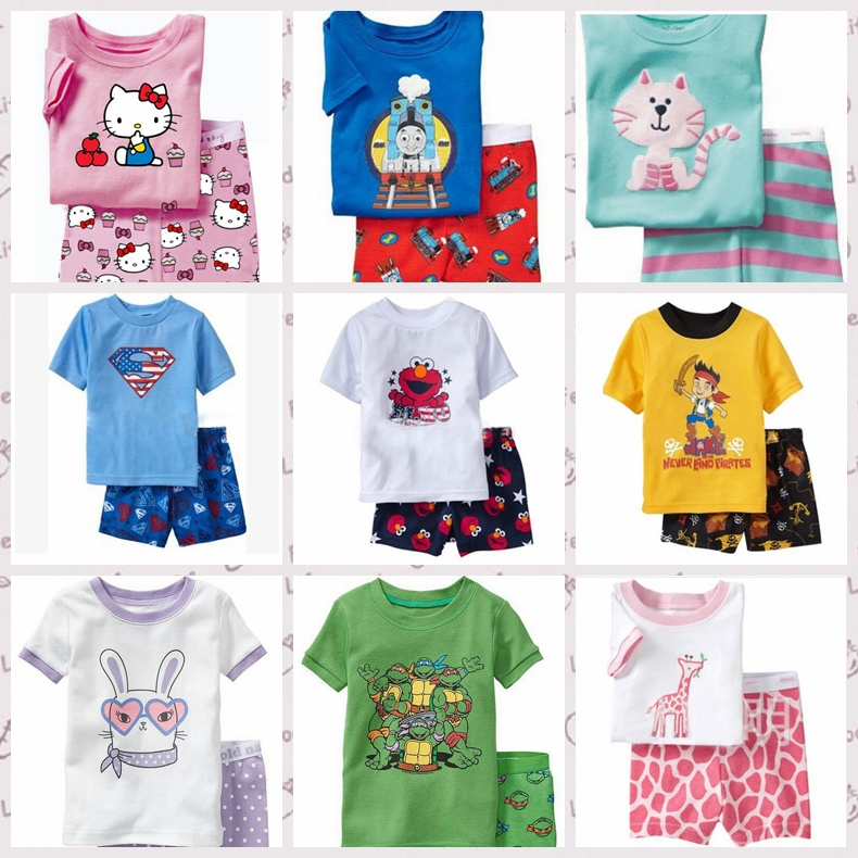2015 2pieces sets girls boys 100% cotton Hello Kitty baby pajamas kids Despicable Me short-sleeved top+pants minnie pajama(China (Mainland))