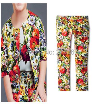 New Flower Printed Pants , Brand Design Girls Winter &Autumn Pants