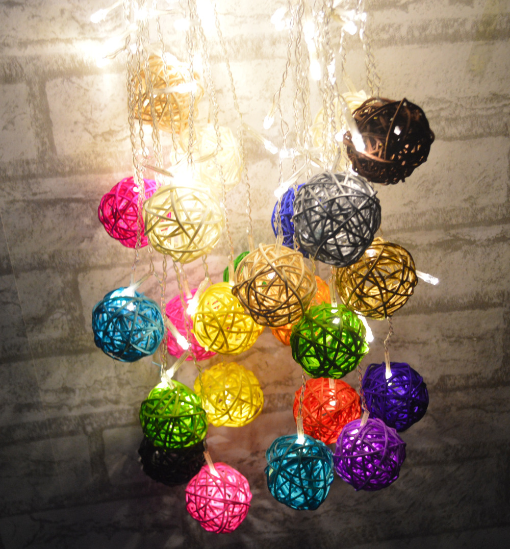 Christmas/wedding/party Icicle Light 4.5M 96LED 0.3/0.4/0.5m wave shape 8 work Modes LED fairy lamp with exquisite rattan balls(China (Mainland))