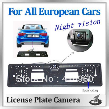 Free shipping With night vision EU European Car License Plate Frame Rear View Rearview Degree EU Car License Plate Frame Size