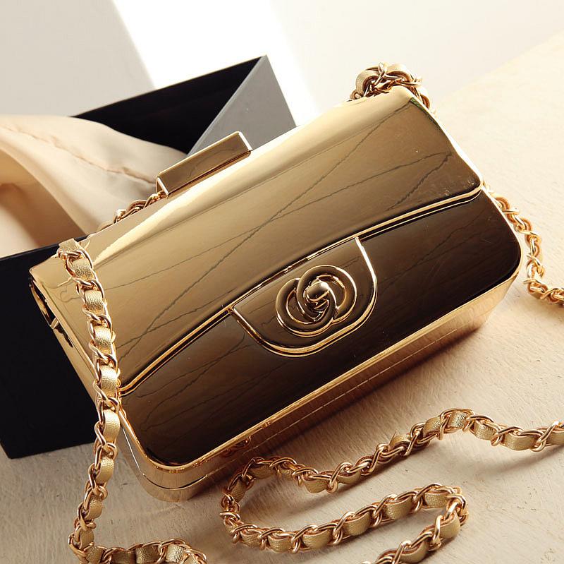 Fashion shaping bag gold small day clutch small box bag messenger bag female bags(China (Mainland))