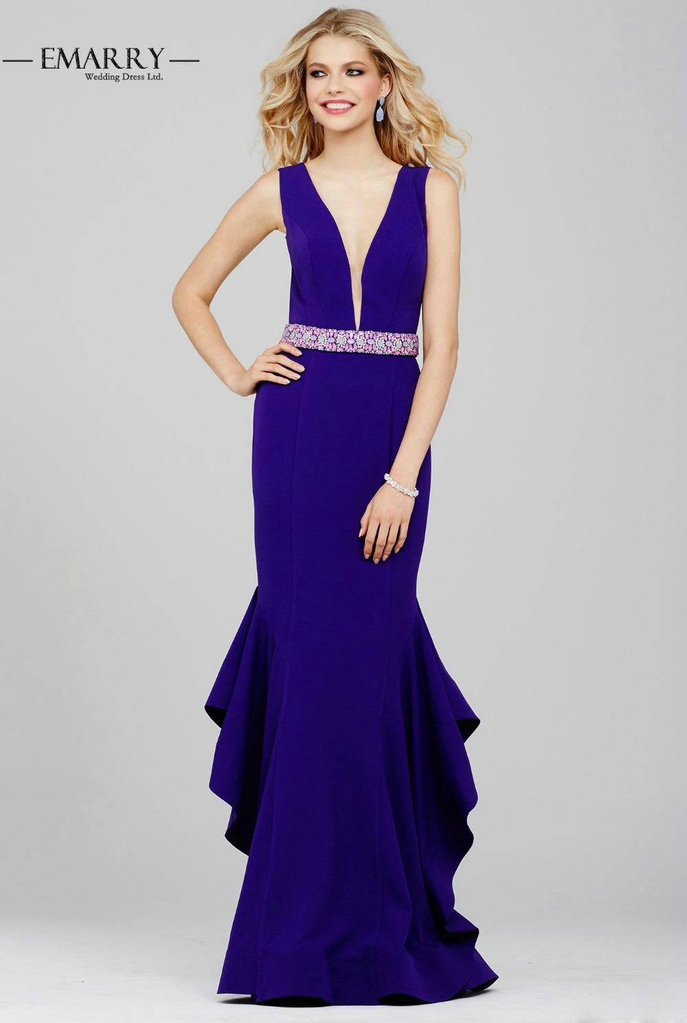 xxy195 royal blue evening dresses 2016 v neck chiffon